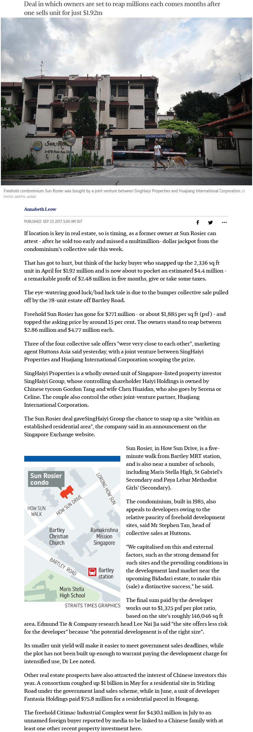 Sun Rosier in Bartley sold en bloc for $271m 7
